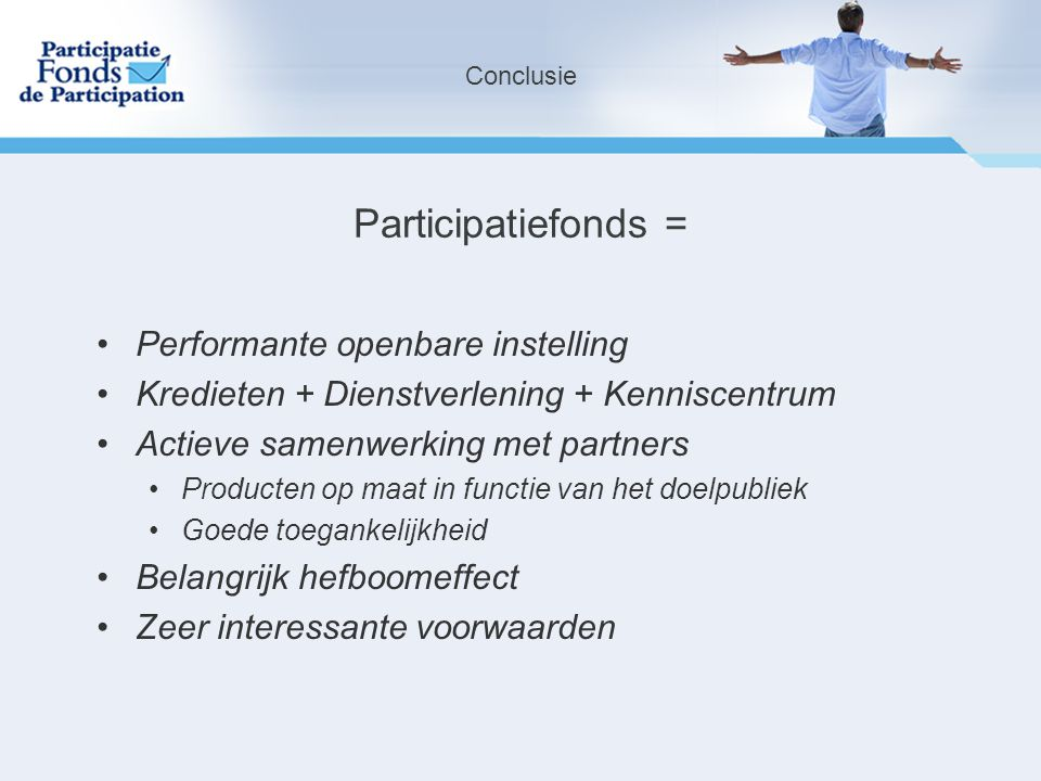 Participatiefonds = Performante openbare instelling