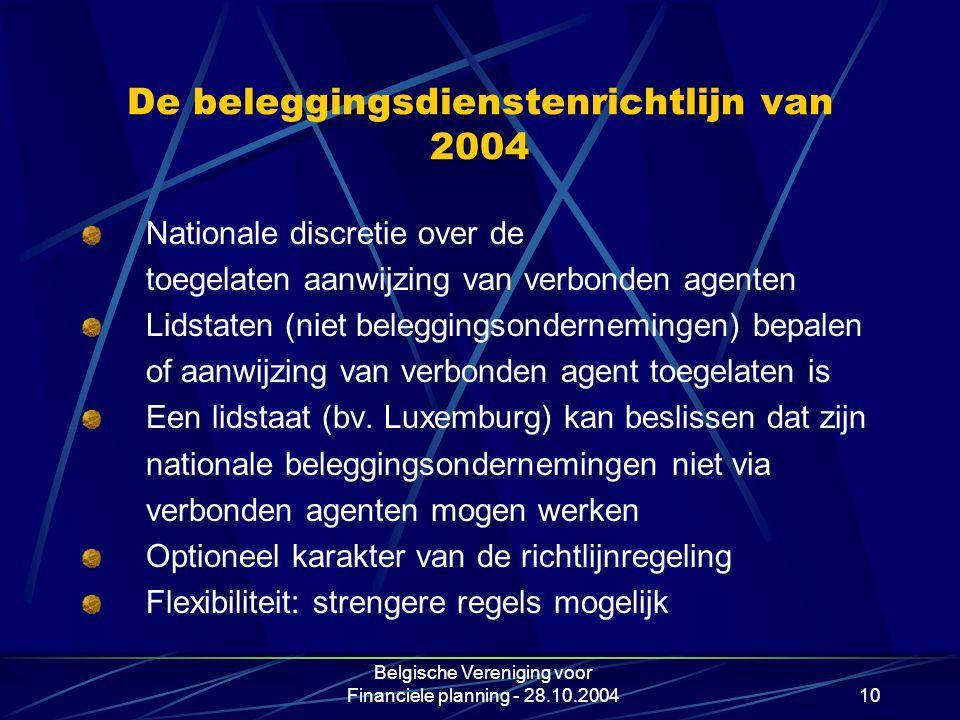 De beleggingsdienstenrichtlijn van 2004