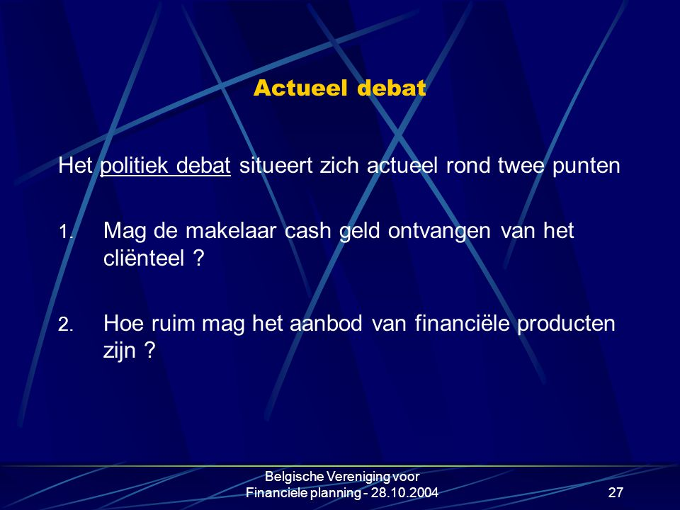 Belgische Vereniging voor Financiele planning - 28.10.2004
