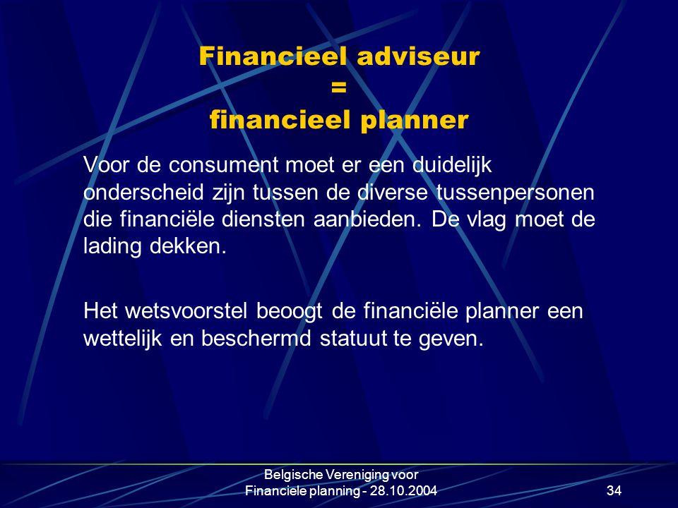 Financieel adviseur = financieel planner