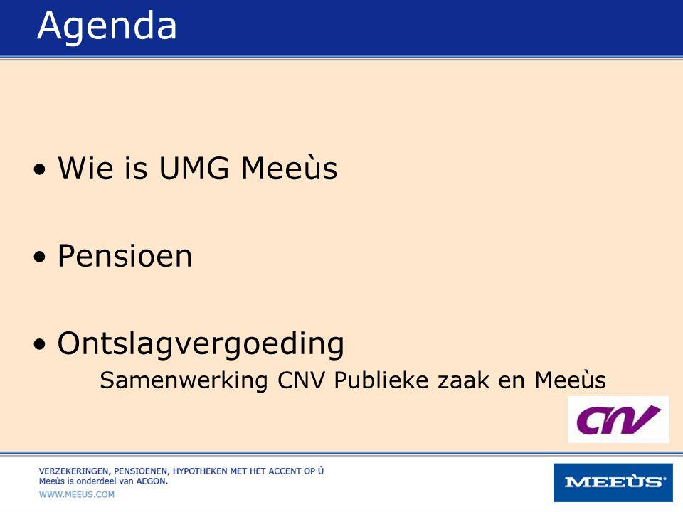 Agenda Wie is UMG Meeùs Pensioen Ontslagvergoeding