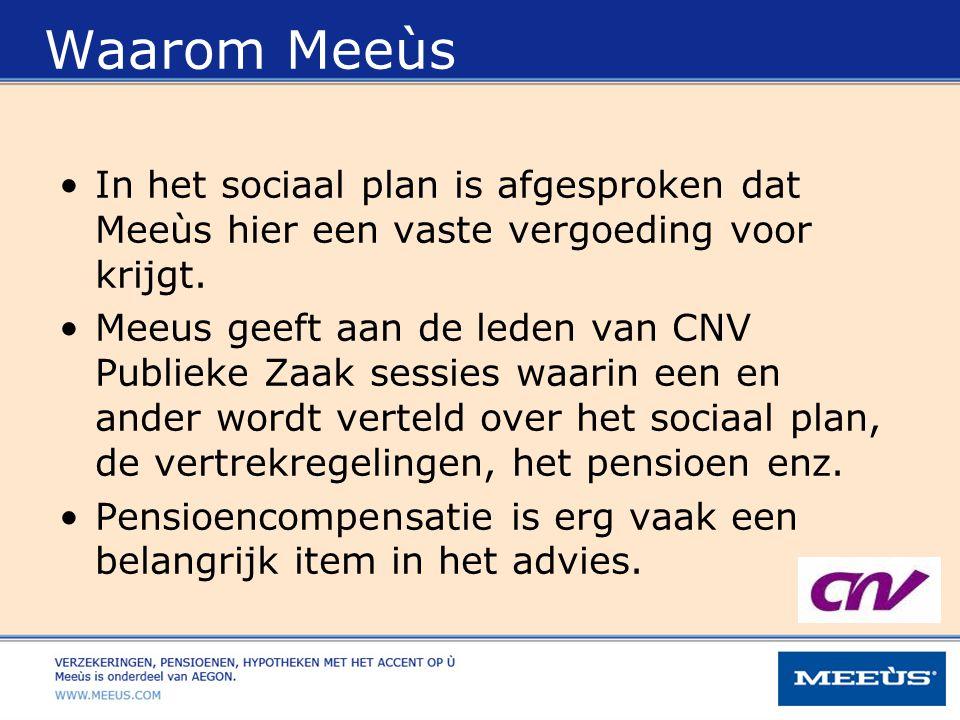Waarom Meeùs In het sociaal plan is afgesproken dat Meeùs hier een vaste vergoeding voor krijgt.