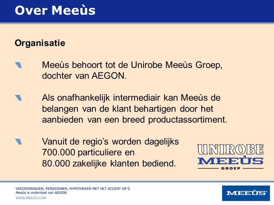 Over Meeùs Organisatie Meeùs behoort tot de Unirobe Meeùs Groep,