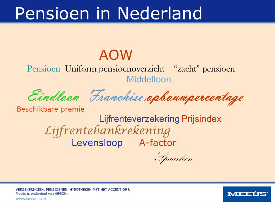 Pensioen in Nederland AOW Middelloon