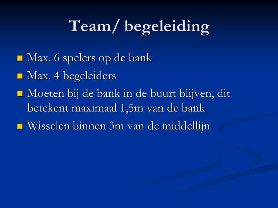 Team/ begeleiding Max. 6 spelers op de bank Max. 4 begeleiders