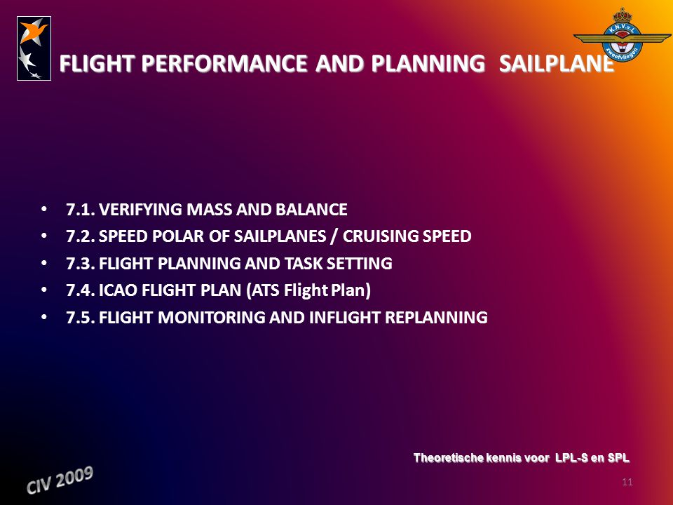FLIGHT PERFORMANCE AND PLANNING ­ SAILPLANE