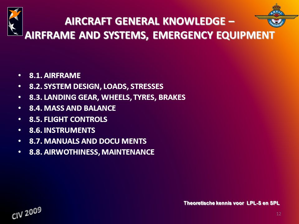 AIRCRAFT GENERAL KNOWLEDGE – AIRFRAME AND SYSTEMS, EMERGENCY EQUIPMENT