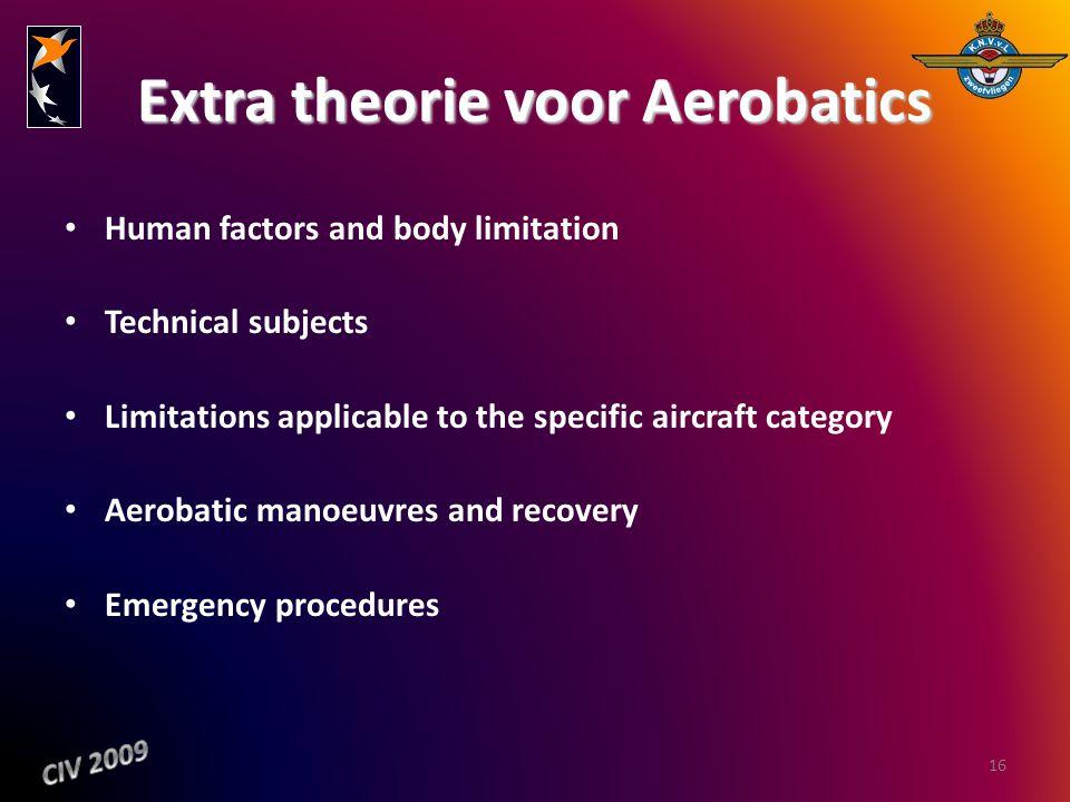 Extra theorie voor Aerobatics