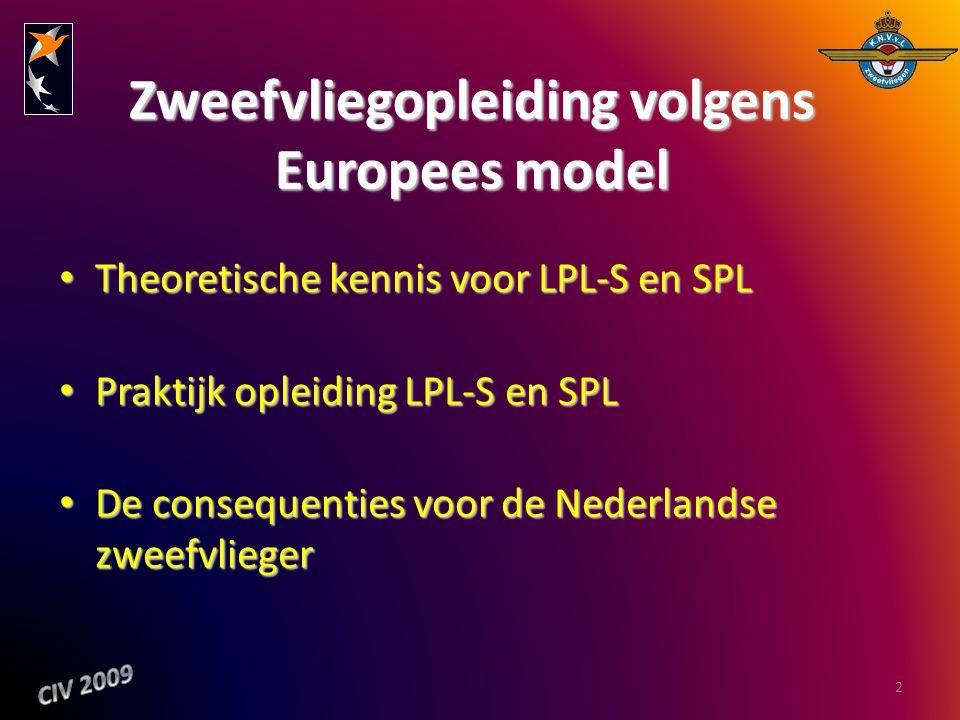Zweefvliegopleiding volgens Europees model