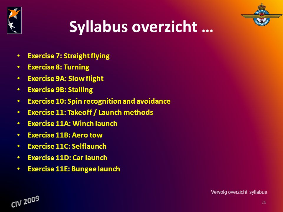 Syllabus overzicht … Exercise 7: Straight flying Exercise 8: Turning