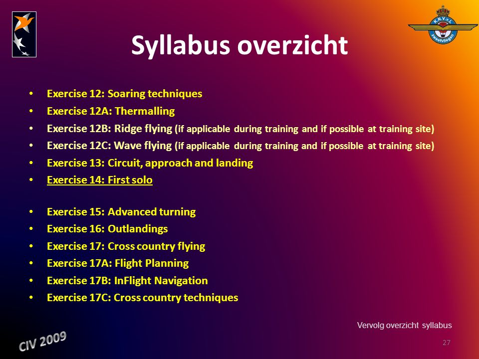 Syllabus overzicht CIV 2009 Exercise 12: Soaring techniques