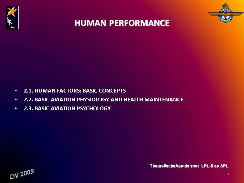 HUMAN PERFORMANCE CIV 2009 2.1. HUMAN FACTORS: BASIC CONCEPTS