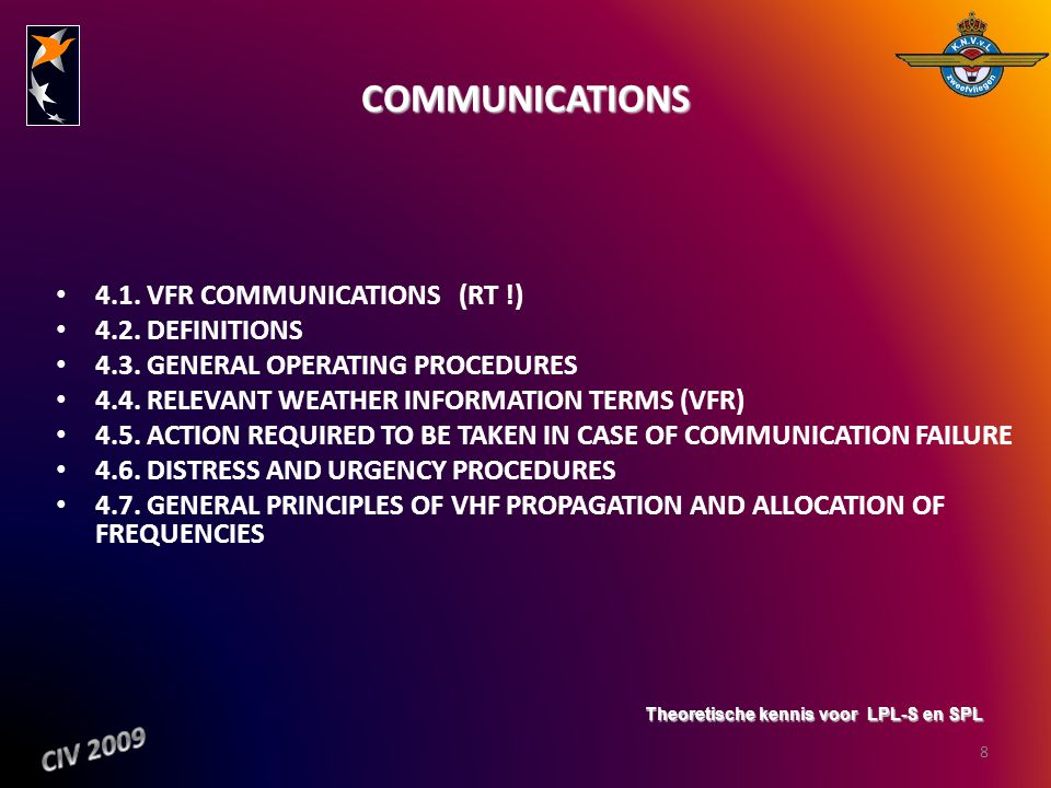 COMMUNICATIONS 4.1. VFR COMMUNICATIONS (RT !) 4.2. DEFINITIONS