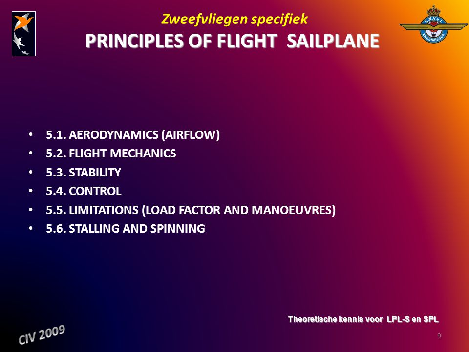 Zweefvliegen specifiek PRINCIPLES OF FLIGHT ­ SAILPLANE