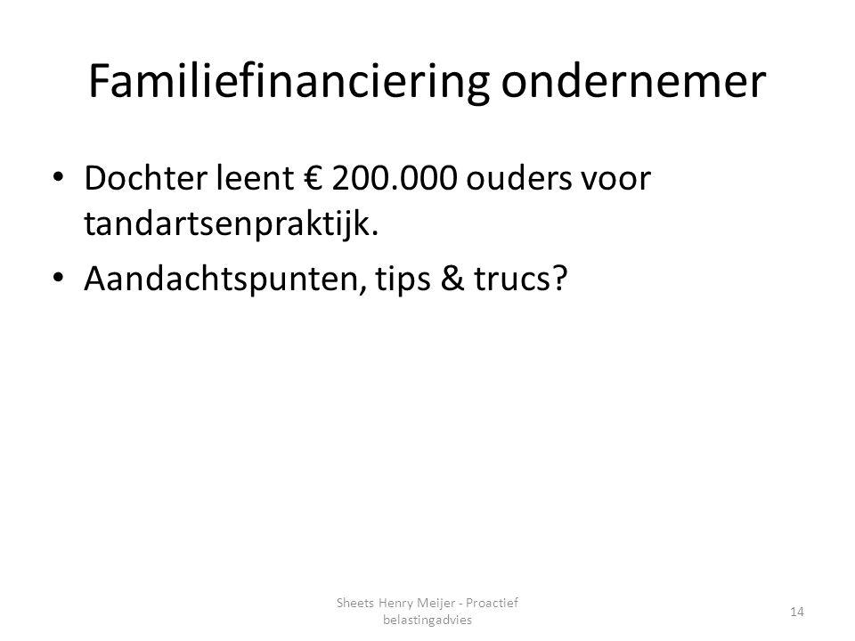 Familiefinanciering ondernemer
