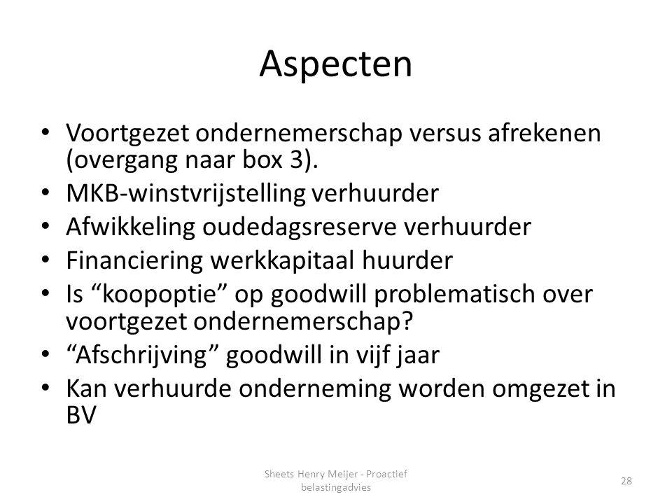 Sheets Henry Meijer - Proactief belastingadvies