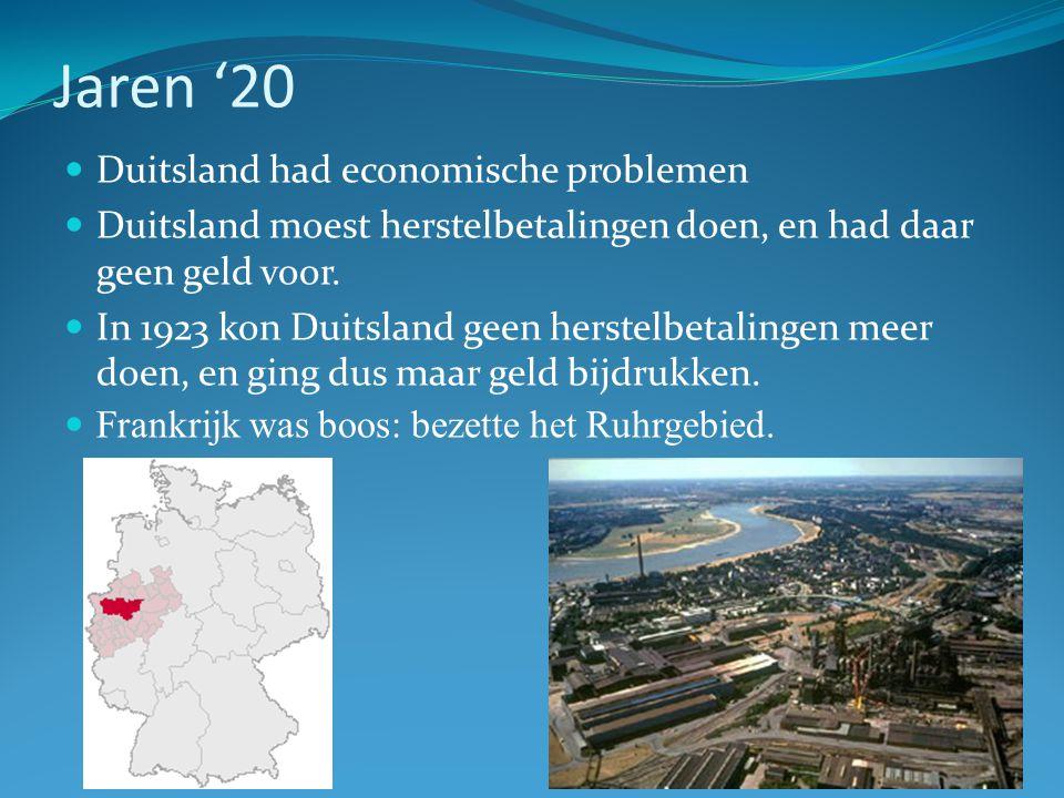 Jaren '20 Duitsland had economische problemen