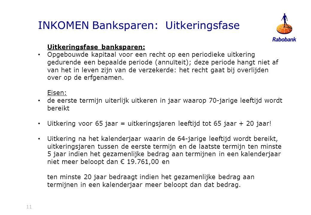 INKOMEN Banksparen: Uitkeringsfase
