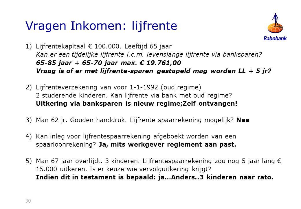 Vragen Inkomen: lijfrente