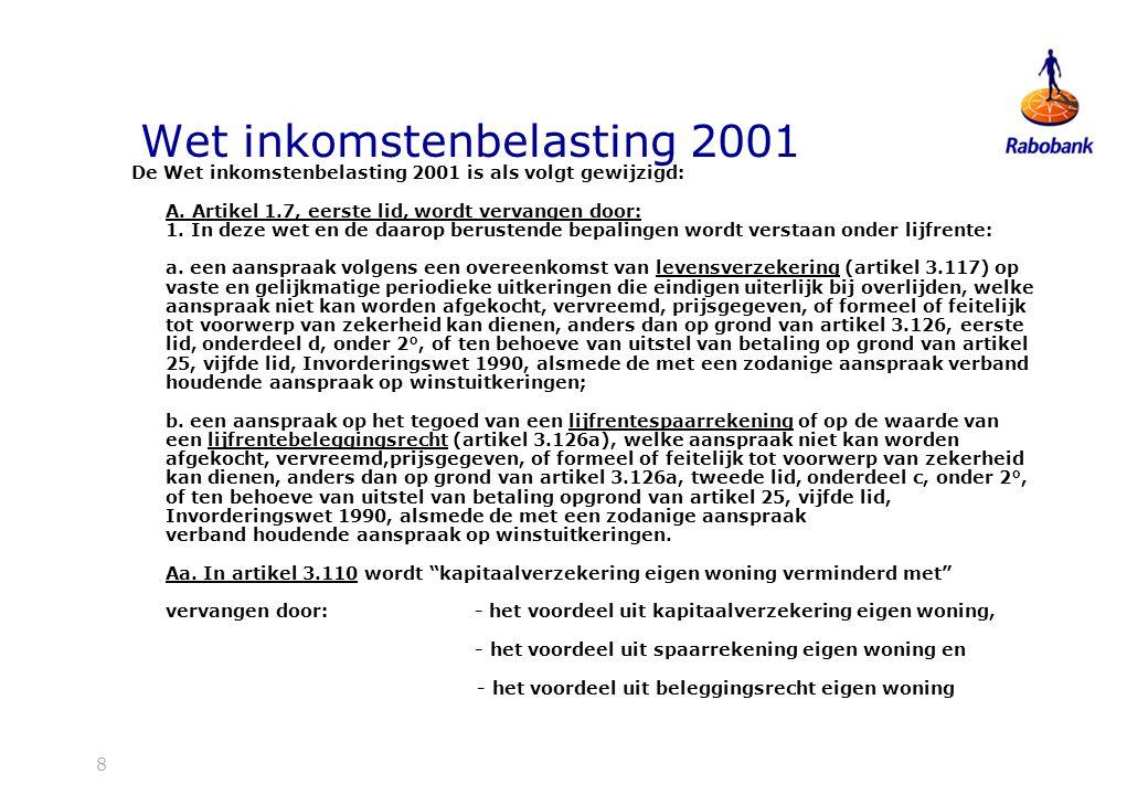 Wet inkomstenbelasting 2001