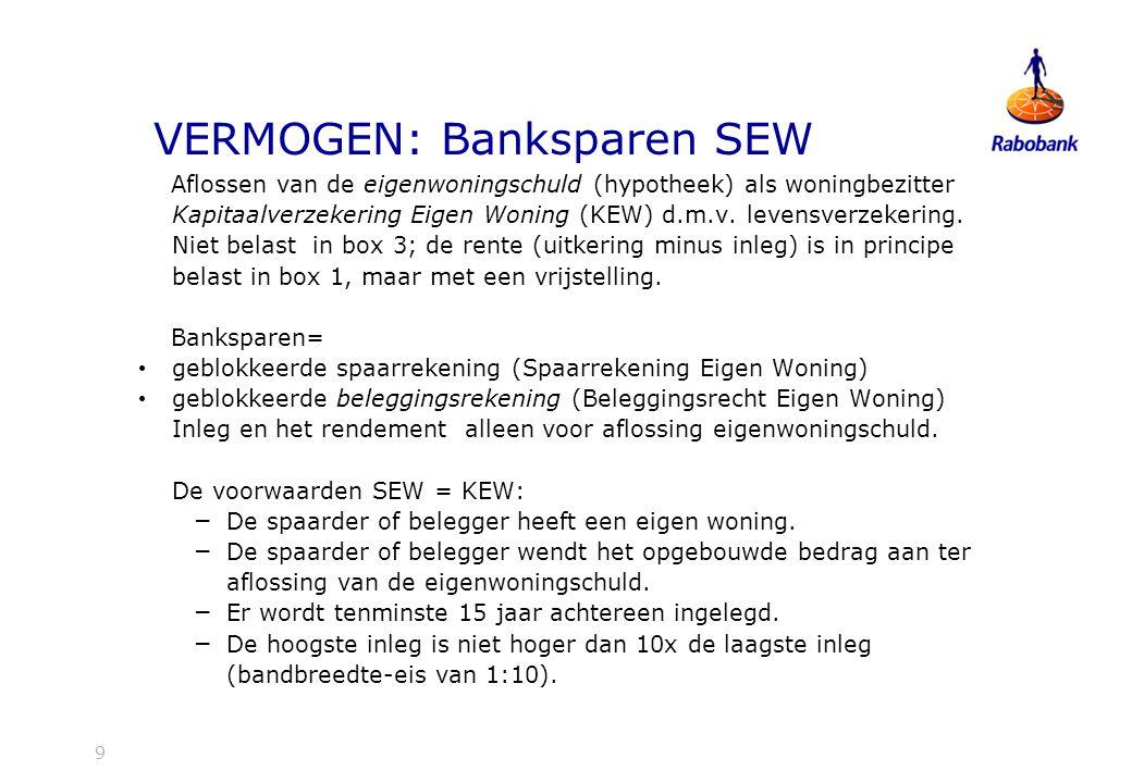 VERMOGEN: Banksparen SEW