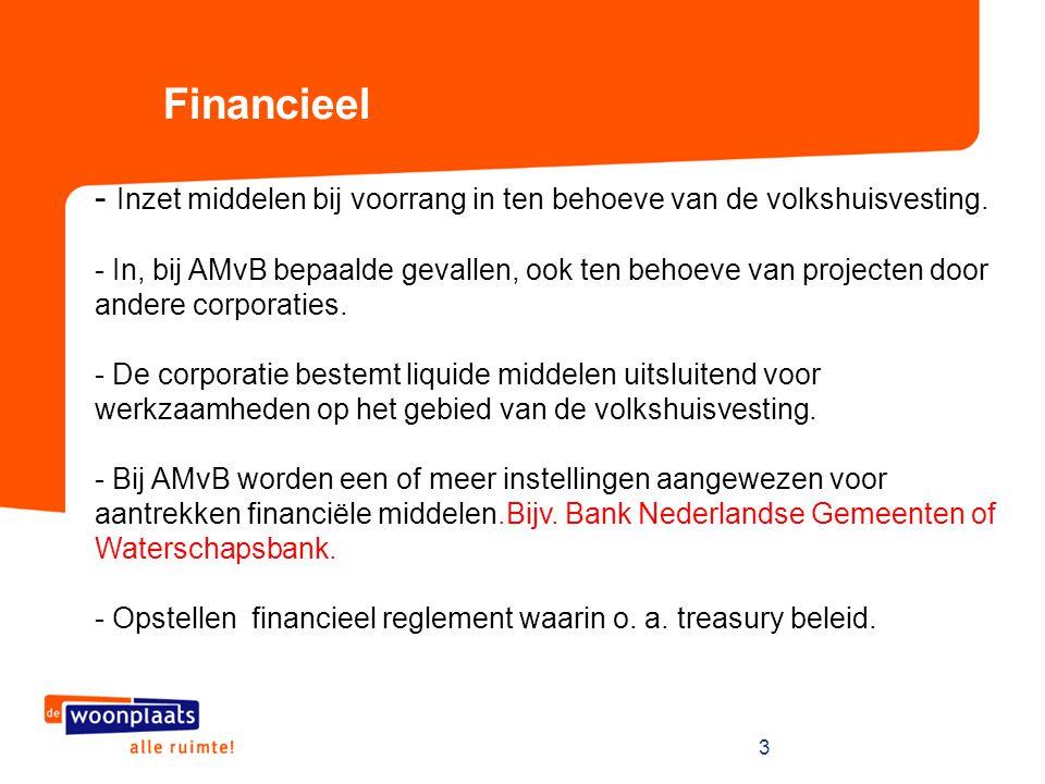 Financieel Inzet middelen bij voorrang in ten behoeve van de volkshuisvesting.