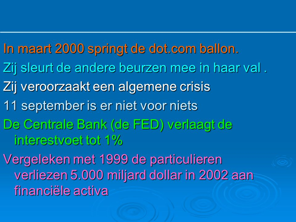 In maart 2000 springt de dot.com ballon.