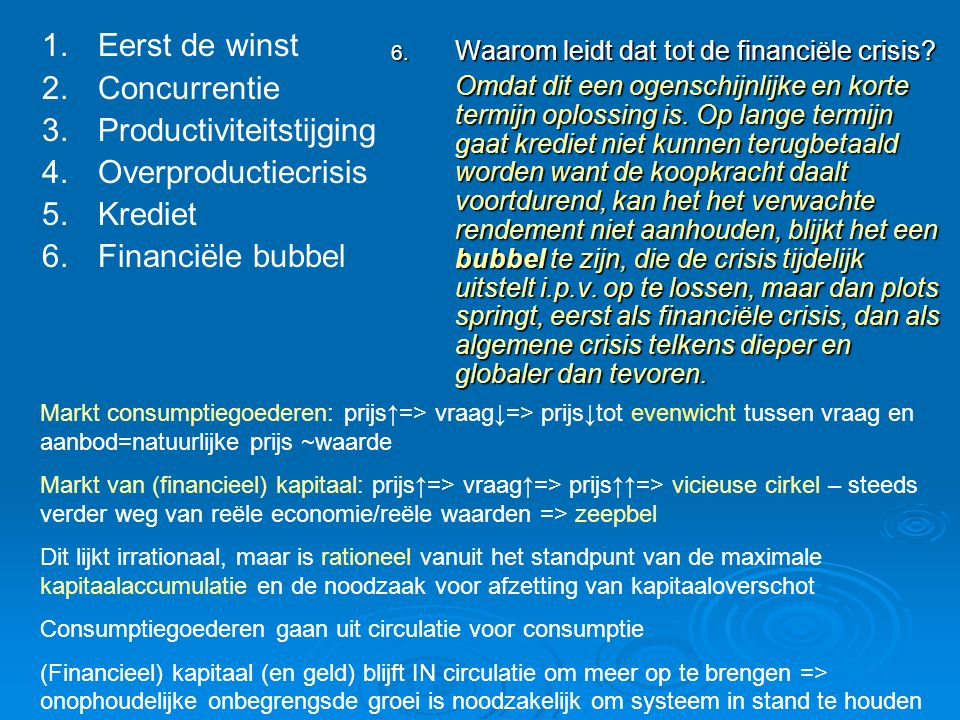 Productiviteitstijging Overproductiecrisis Krediet Financiële bubbel