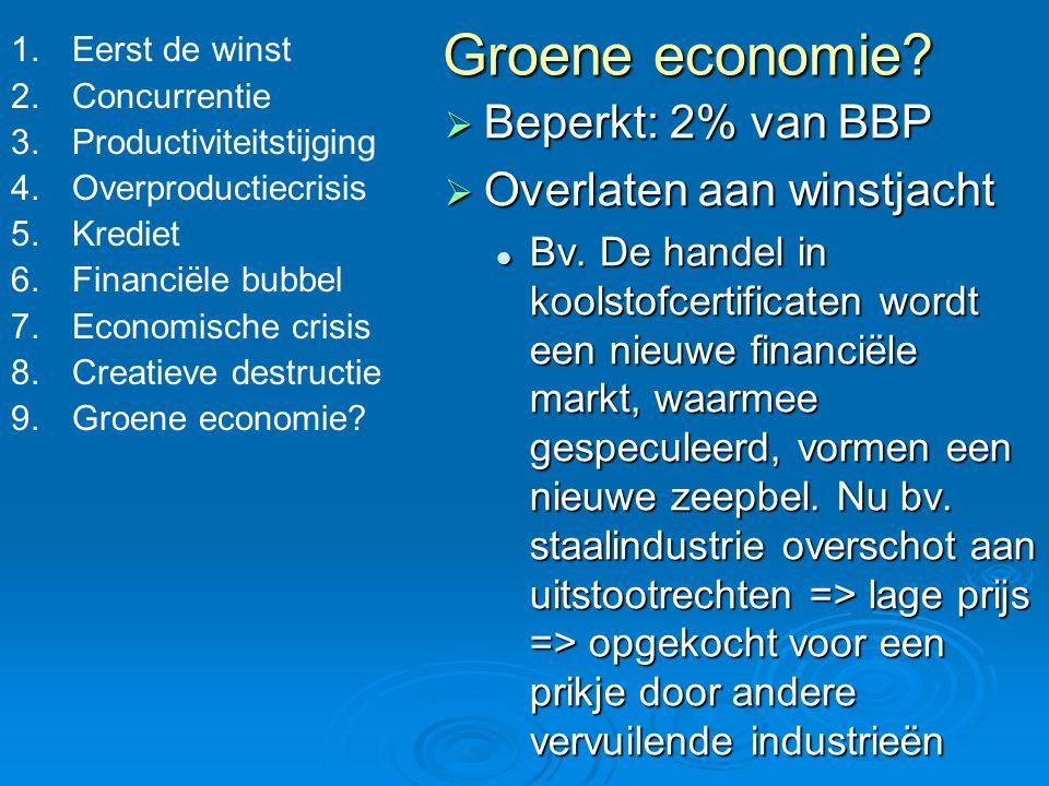 Groene economie Beperkt: 2% van BBP Overlaten aan winstjacht
