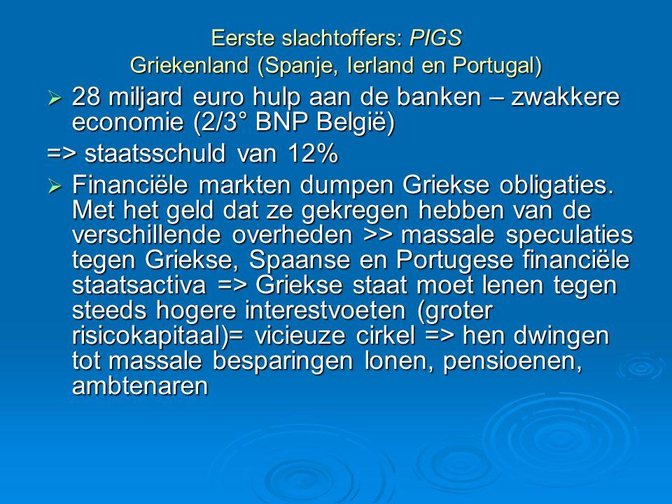Eerste slachtoffers: PIGS Griekenland (Spanje, Ierland en Portugal)