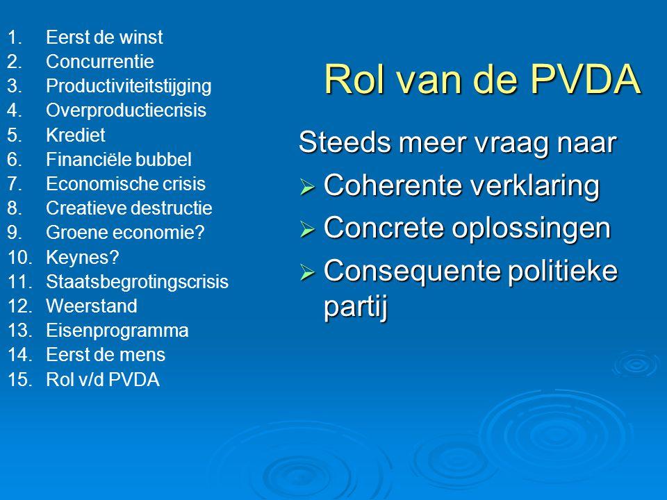 Rol van de PVDA Steeds meer vraag naar Coherente verklaring