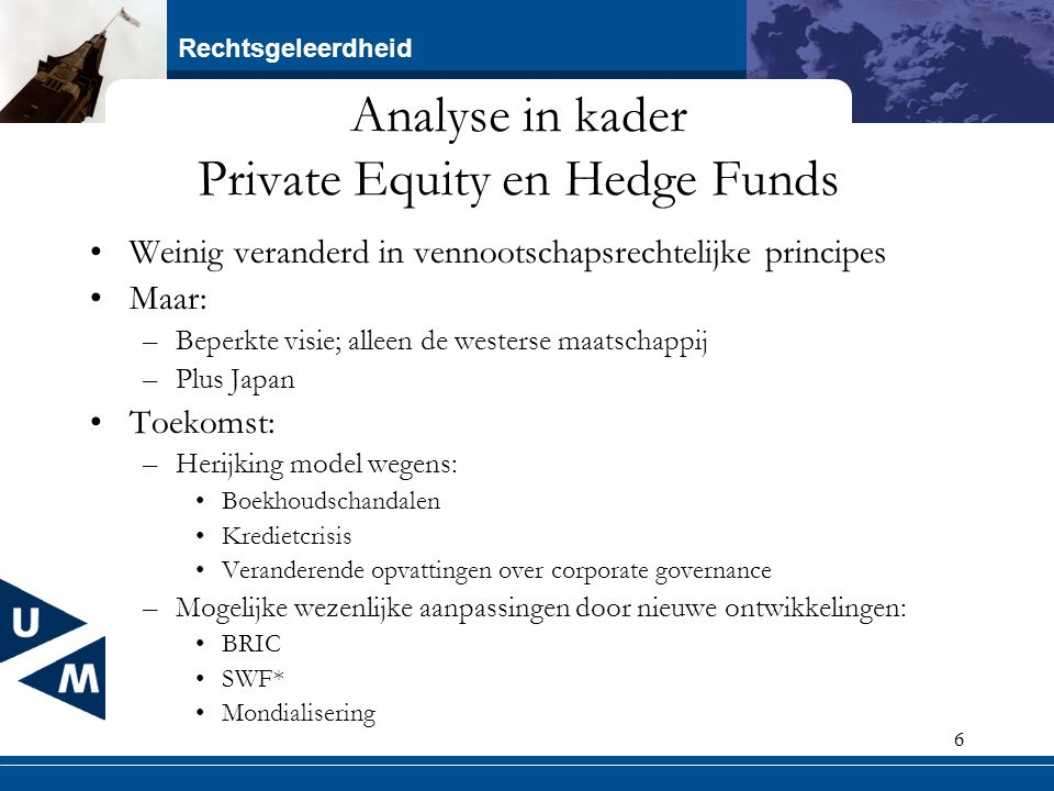 Analyse in kader Private Equity en Hedge Funds
