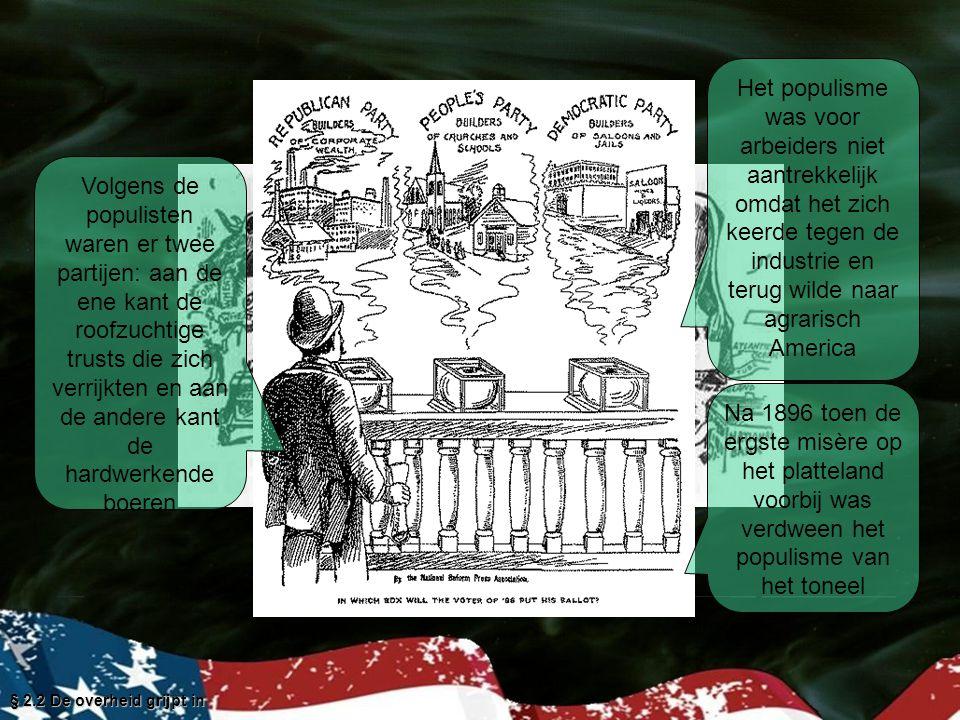 Het populisme was voor arbeiders niet aantrekkelijk omdat het zich keerde tegen de industrie en terug wilde naar agrarisch America