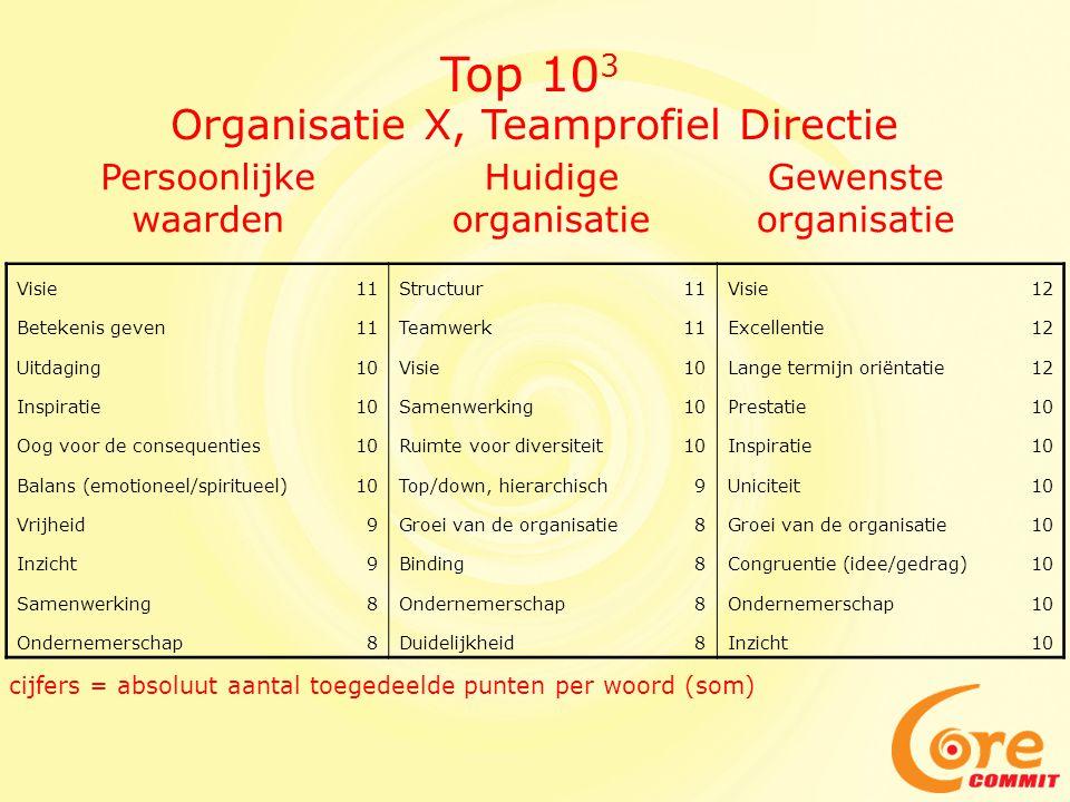 Top 103 Organisatie X, Teamprofiel Directie Persoonlijke waarden