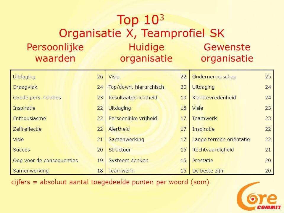 Top 103 Organisatie X, Teamprofiel SK Persoonlijke waarden