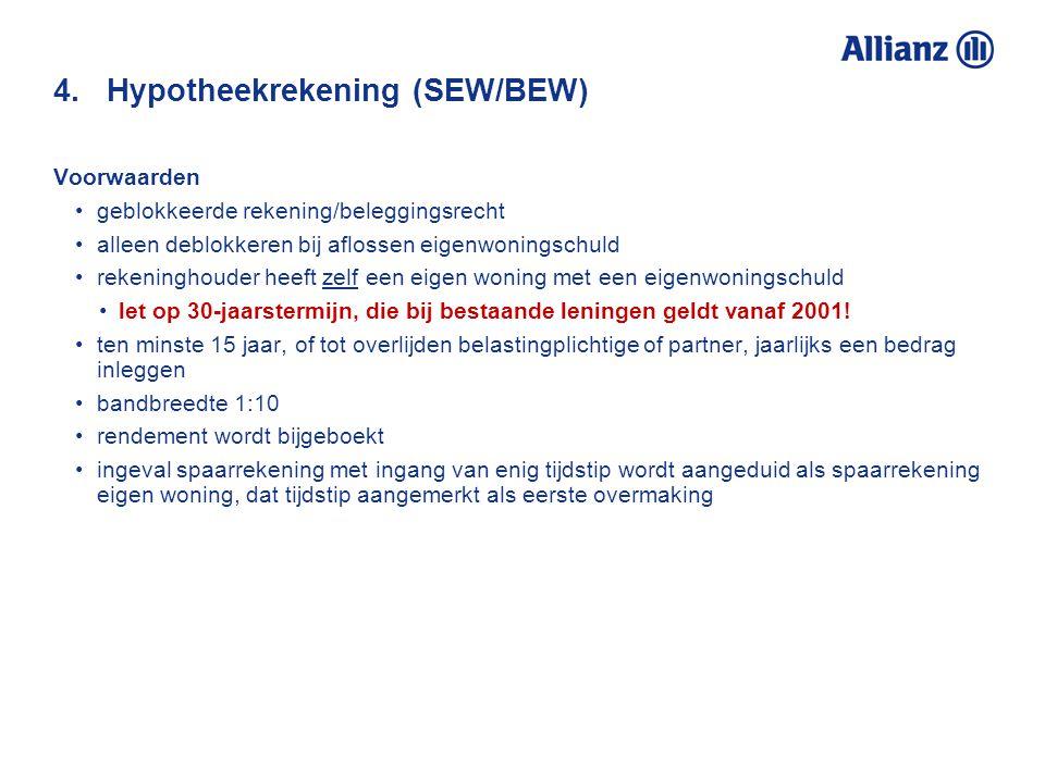 4. Hypotheekrekening (SEW/BEW)