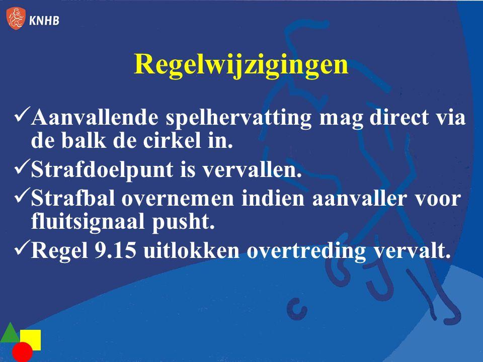 Regelwijzigingen Aanvallende spelhervatting mag direct via de balk de cirkel in. Strafdoelpunt is vervallen.