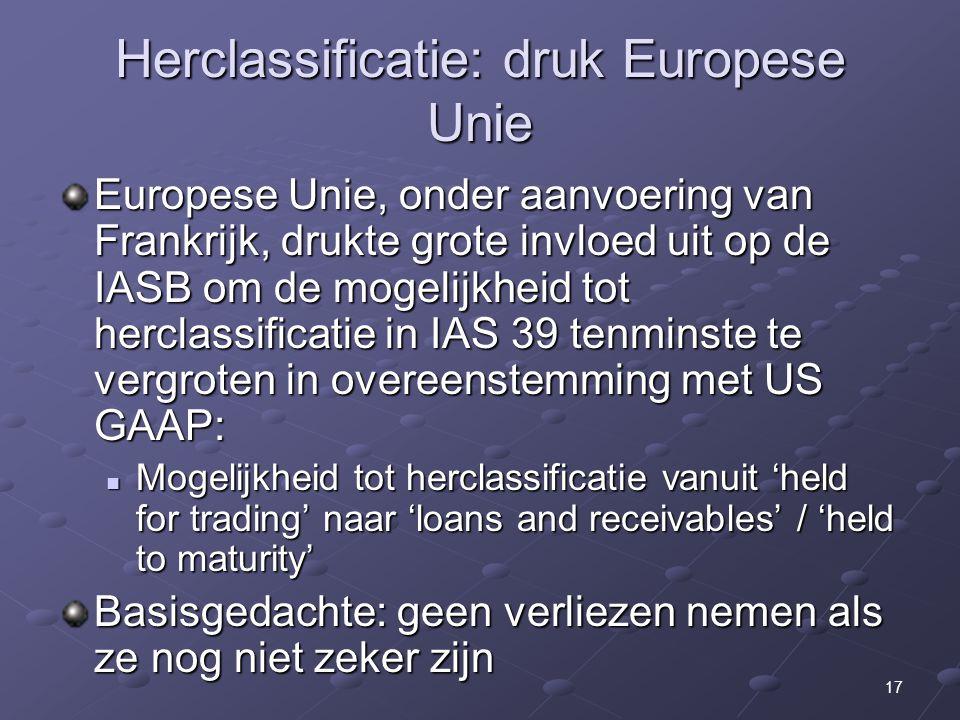 Herclassificatie: druk Europese Unie