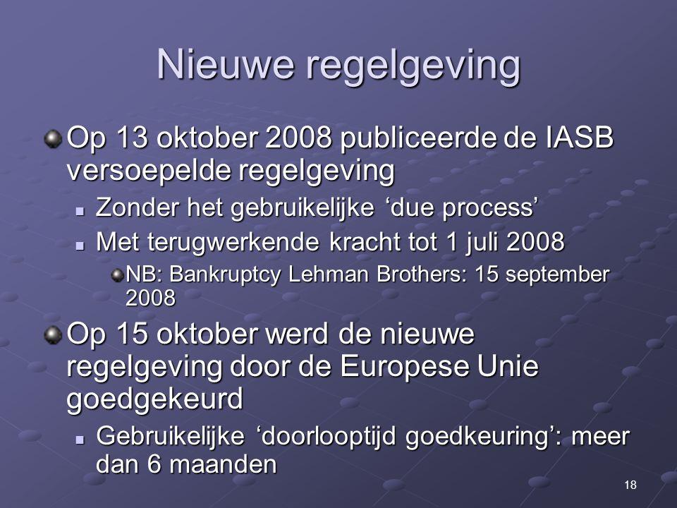 Nieuwe regelgeving Op 13 oktober 2008 publiceerde de IASB versoepelde regelgeving. Zonder het gebruikelijke 'due process'