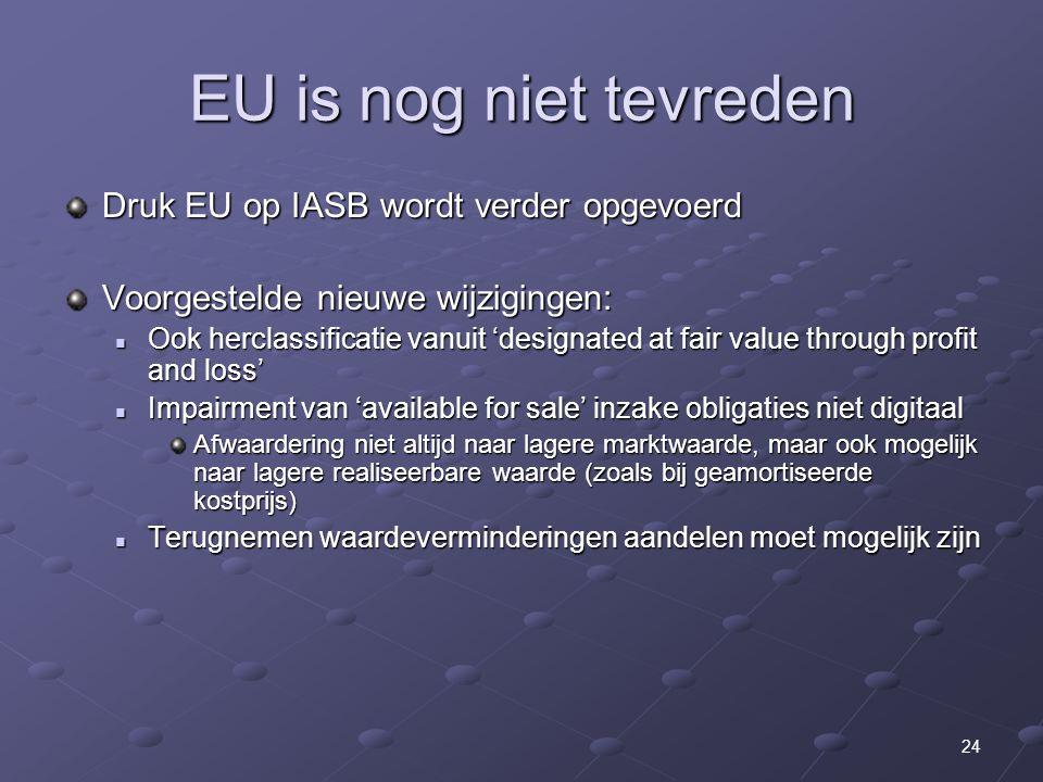 EU is nog niet tevreden Druk EU op IASB wordt verder opgevoerd