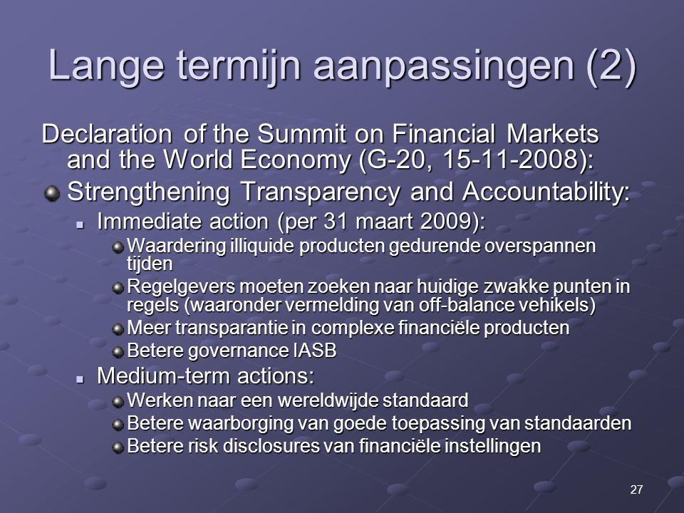 Lange termijn aanpassingen (2)