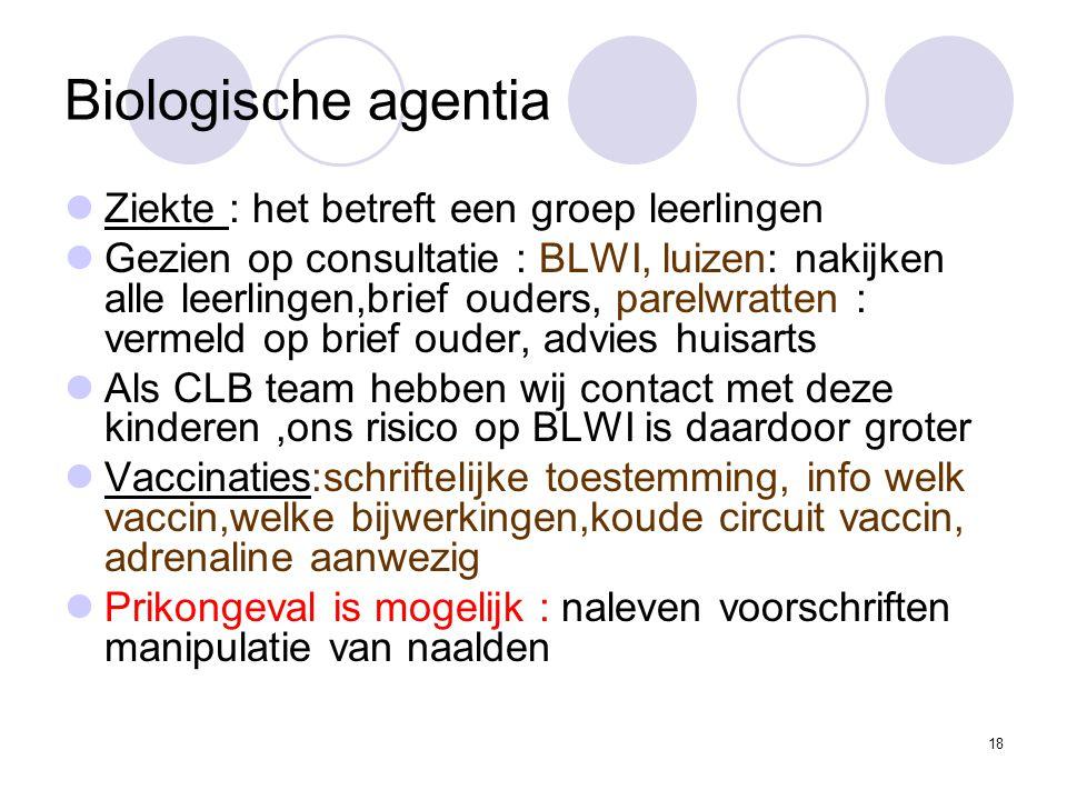 Biologische agentia Ziekte : het betreft een groep leerlingen