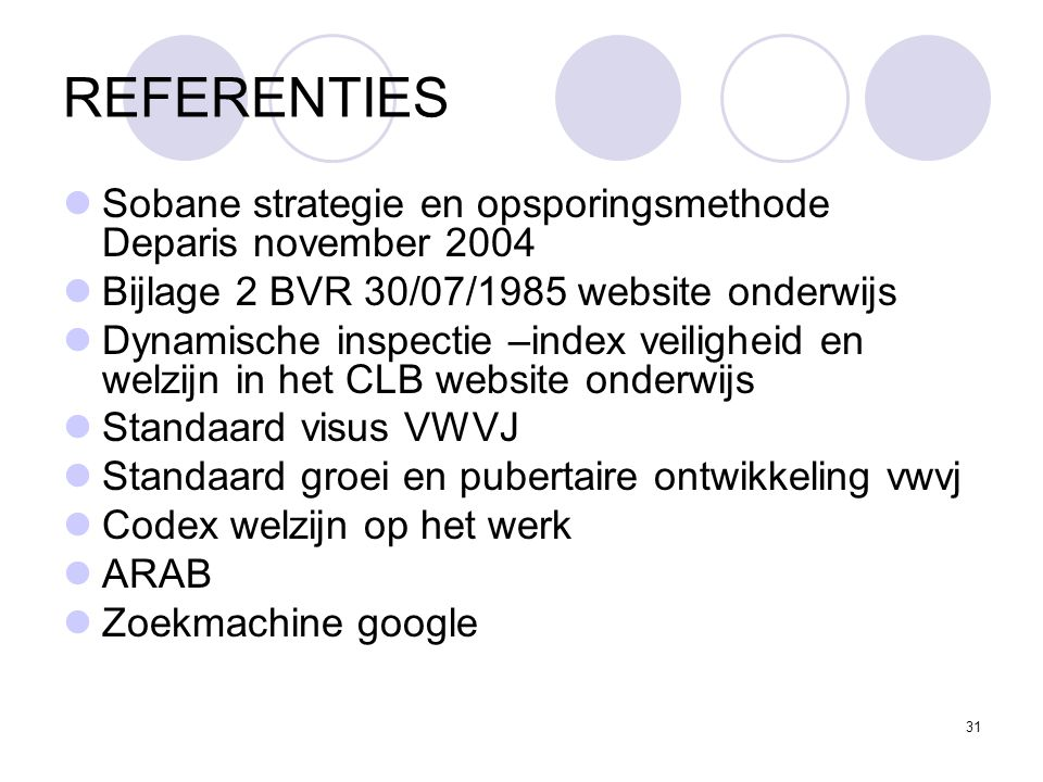 REFERENTIES Sobane strategie en opsporingsmethode Deparis november 2004. Bijlage 2 BVR 30/07/1985 website onderwijs.