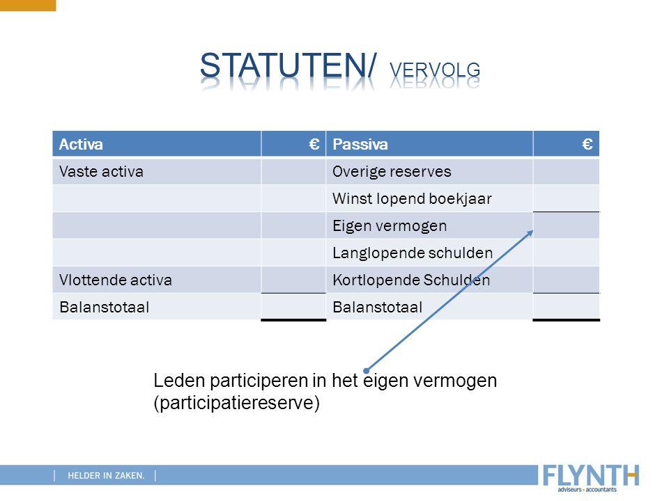 Statuten/ vervolg Leden participeren in het eigen vermogen