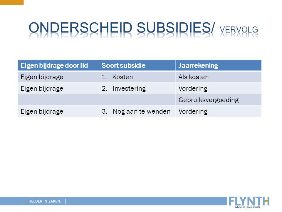 Onderscheid subsidies/ vervolg