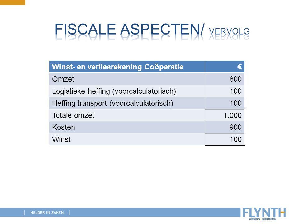 Fiscale aspecten/ vervolg