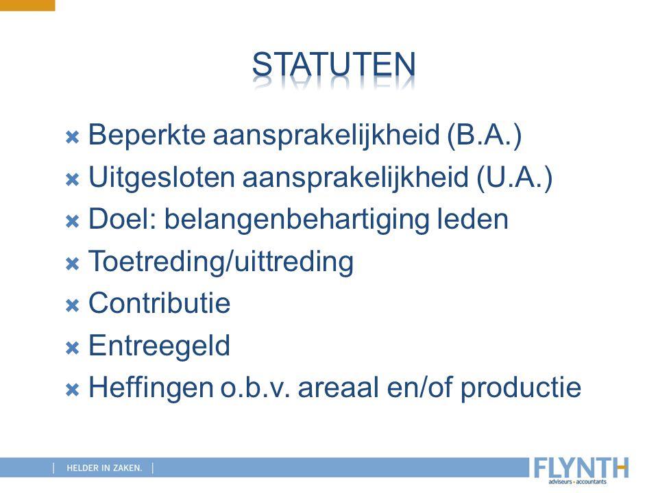 Statuten Beperkte aansprakelijkheid (B.A.)