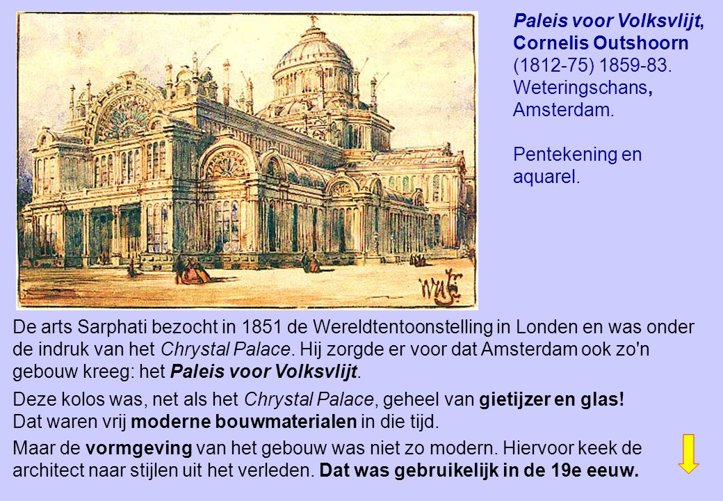 Paleis voor Volksvlijt, Cornelis Outshoorn (1812-75) 1859-83