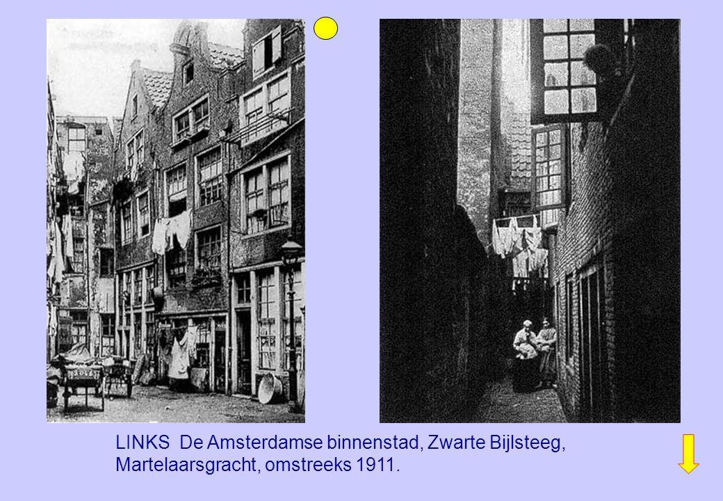 LINKS De Amsterdamse binnenstad, Zwarte Bijlsteeg, Martelaarsgracht, omstreeks 1911.