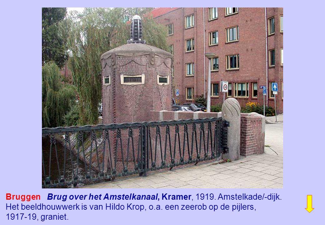 Bruggen Brug over het Amstelkanaal, Kramer, 1919. Amstelkade/-dijk.
